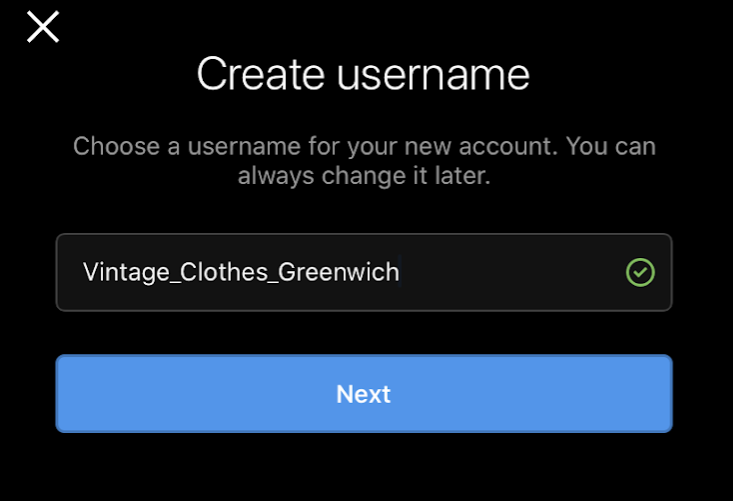 Cubefunder Getting started on Instagram create username