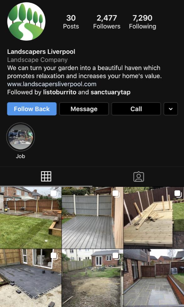 Cubefunder Getting started on Instagram Landscapers Liverpool