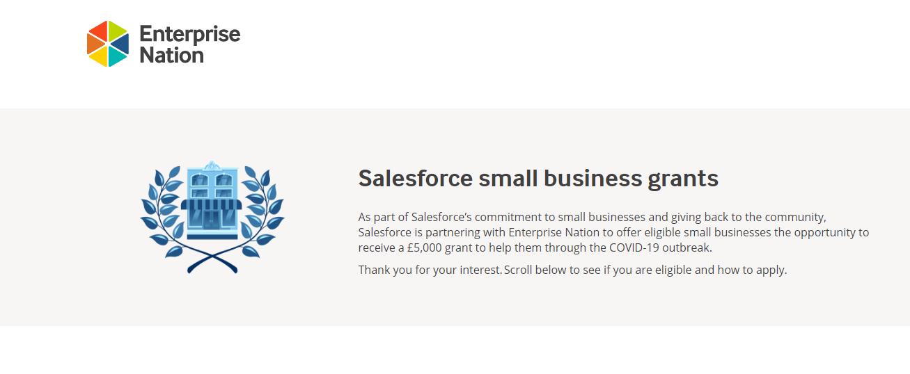 Sales Force and Enterprise small business coronavirus grant