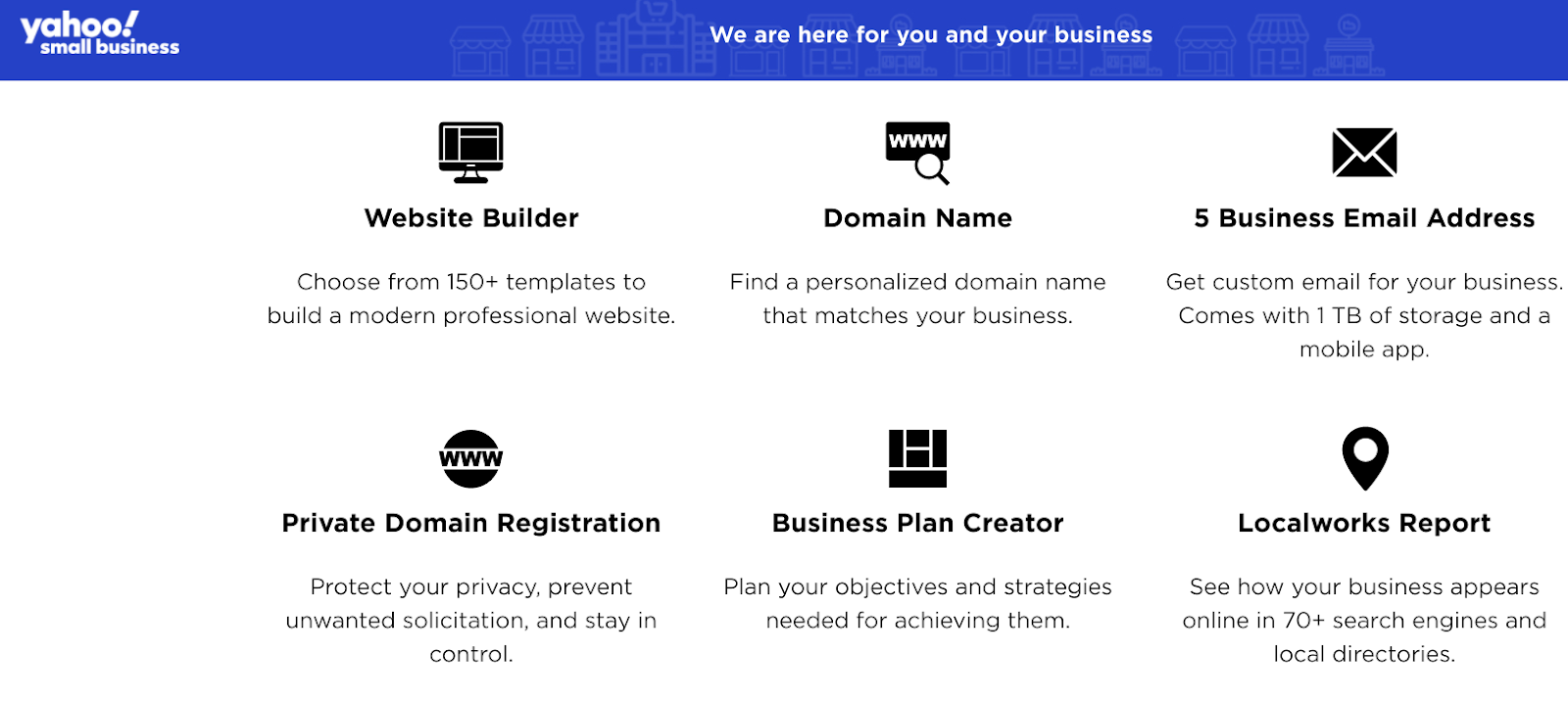 Yahoo small business package